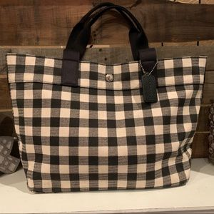 Coach Gingham Check Canvas Tote